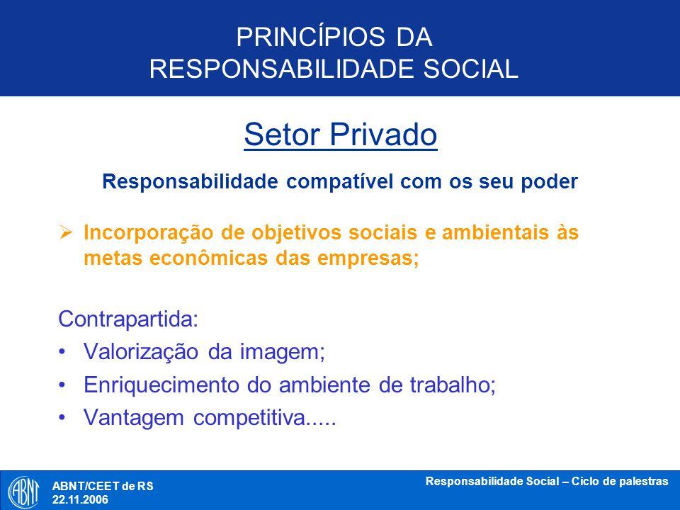 Setor Privado PRINCÍPIOS DA RESPONSABILIDADE SOCIAL Contrapartida: