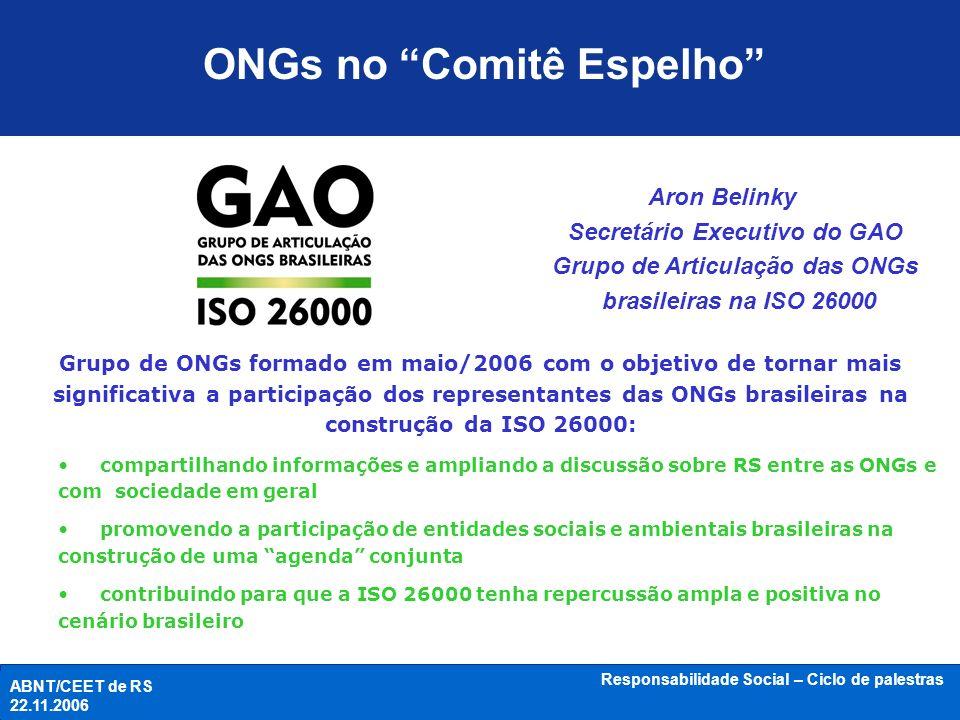 ONGs no Comitê Espelho