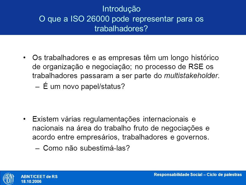 Introdução O que a ISO 26000 pode representar para os trabalhadores