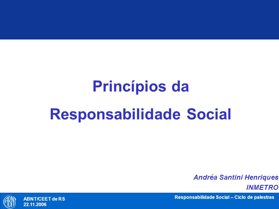 Princípios da Responsabilidade Social