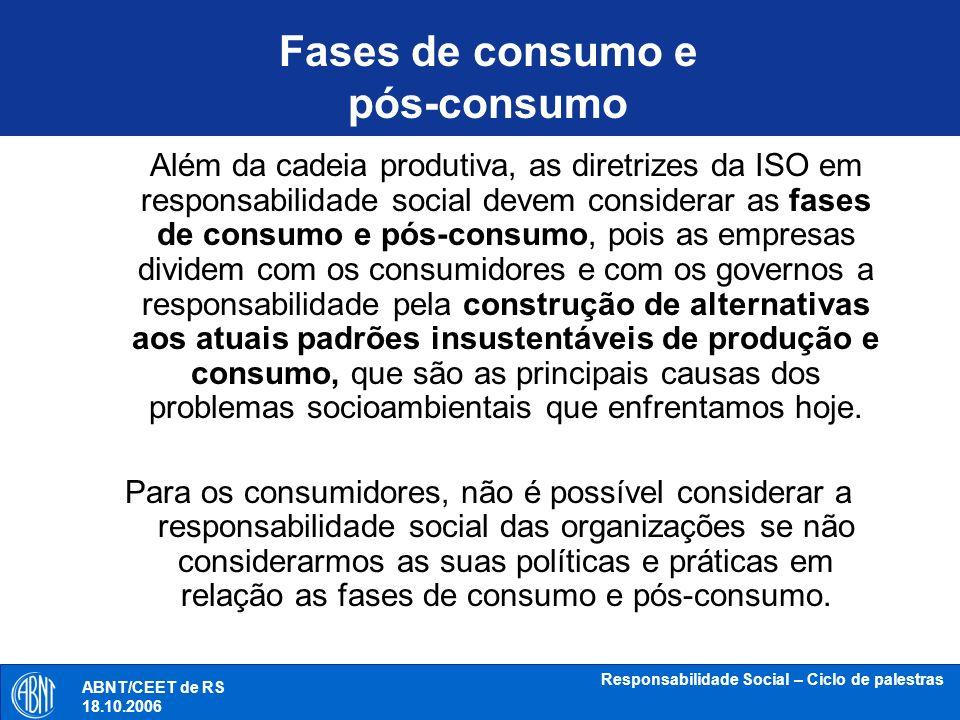 Fases de consumo e pós-consumo
