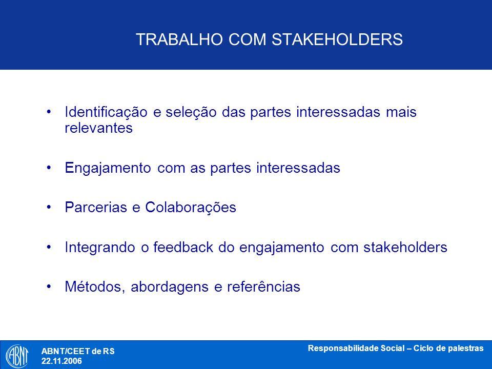 TRABALHO COM STAKEHOLDERS