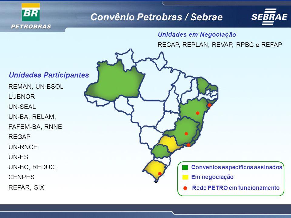Convênios específicos assinados Rede PETRO em funcionamento