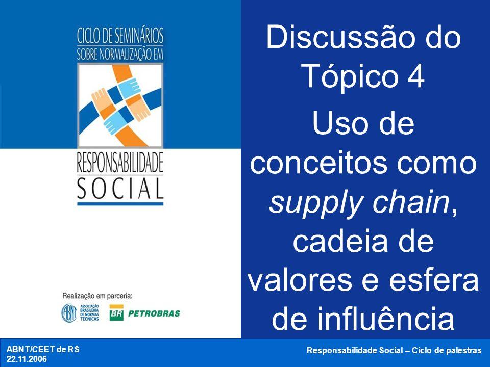 Discussão do Tópico 4Uso de conceitos como supply chain, cadeia de valores e esfera de influência. ABNT/CEET de RS.