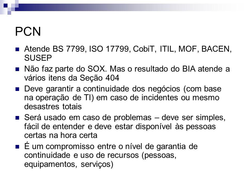 PCN Atende BS 7799, ISO 17799, CobiT, ITIL, MOF, BACEN, SUSEP
