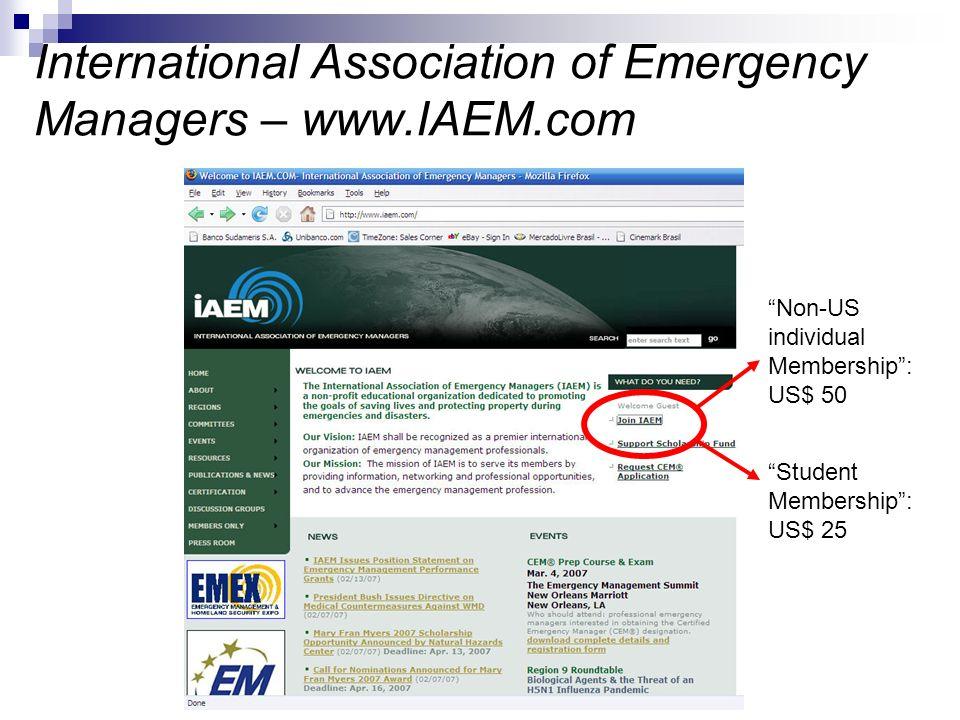 International Association of Emergency Managers – www.IAEM.com