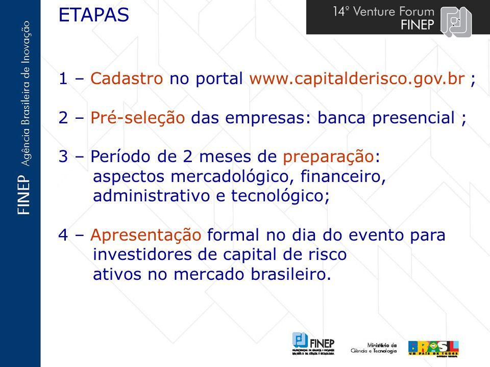 ETAPAS 1 – Cadastro no portal www.capitalderisco.gov.br ;