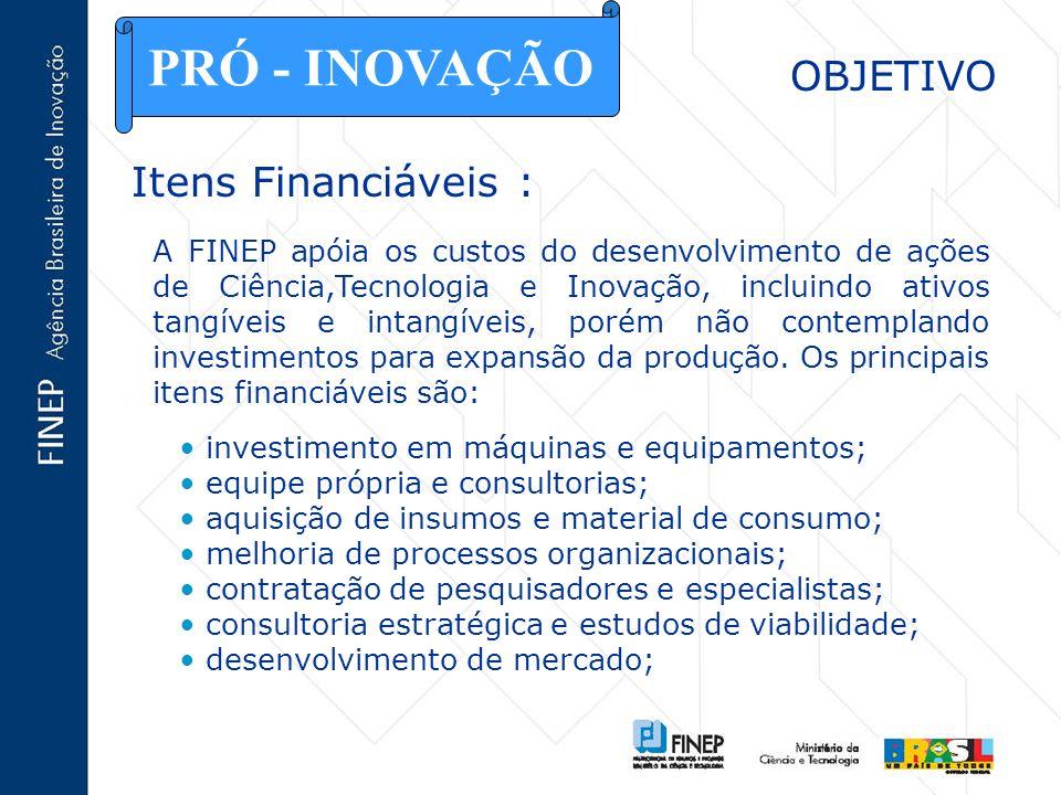 PRÓ - INOVAÇÃO OBJETIVO Itens Financiáveis :