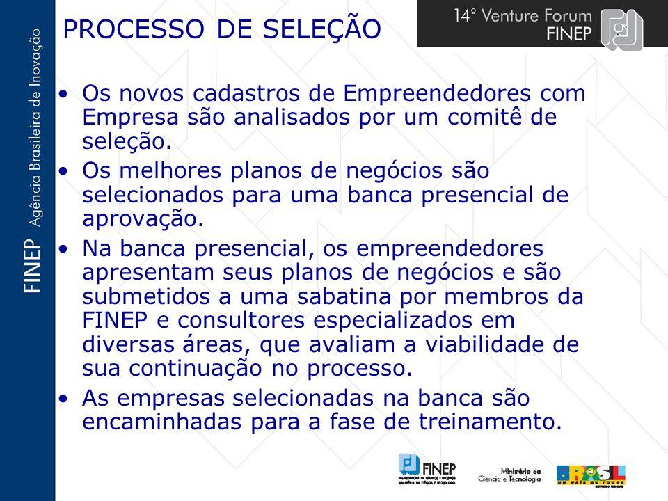 PROCESSO DE SELEÇÃOOs novos cadastros de Empreendedores com Empresa são analisados por um comitê de seleção.