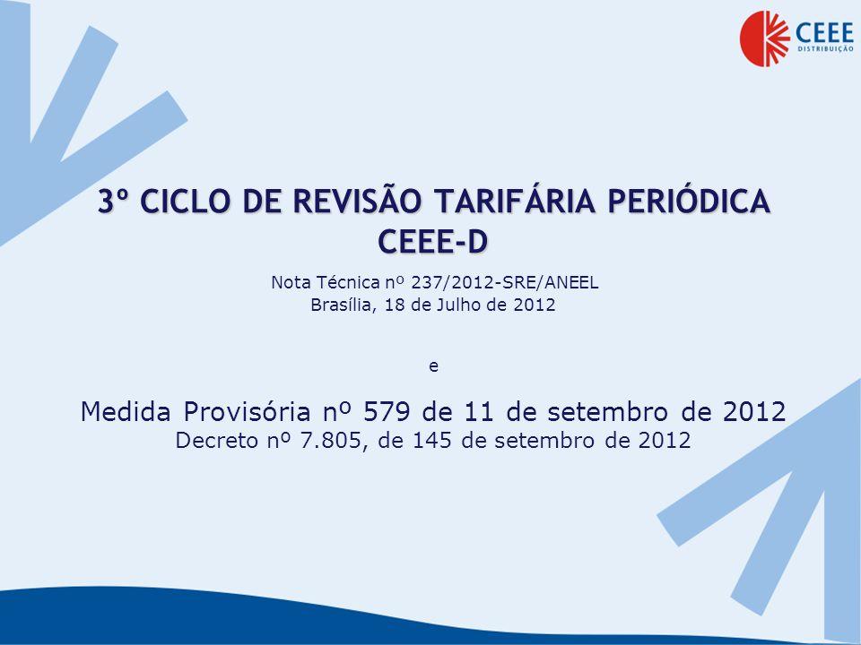 3º CICLO DE REVISÃO TARIFÁRIA PERIÓDICA CEEE-D Nota Técnica nº 237/2012-SRE/ANEEL Brasília, 18 de Julho de 2012 e Medida Provisória nº 579 de 11 de setembro de 2012 Decreto nº 7.805, de 145 de setembro de 2012
