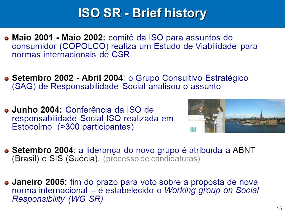 ISO SR - Brief history