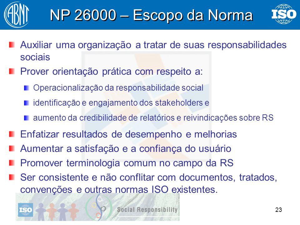 NP 26000 – Escopo da Norma Auxiliar uma organização a tratar de suas responsabilidades sociais. Prover orientação prática com respeito a: