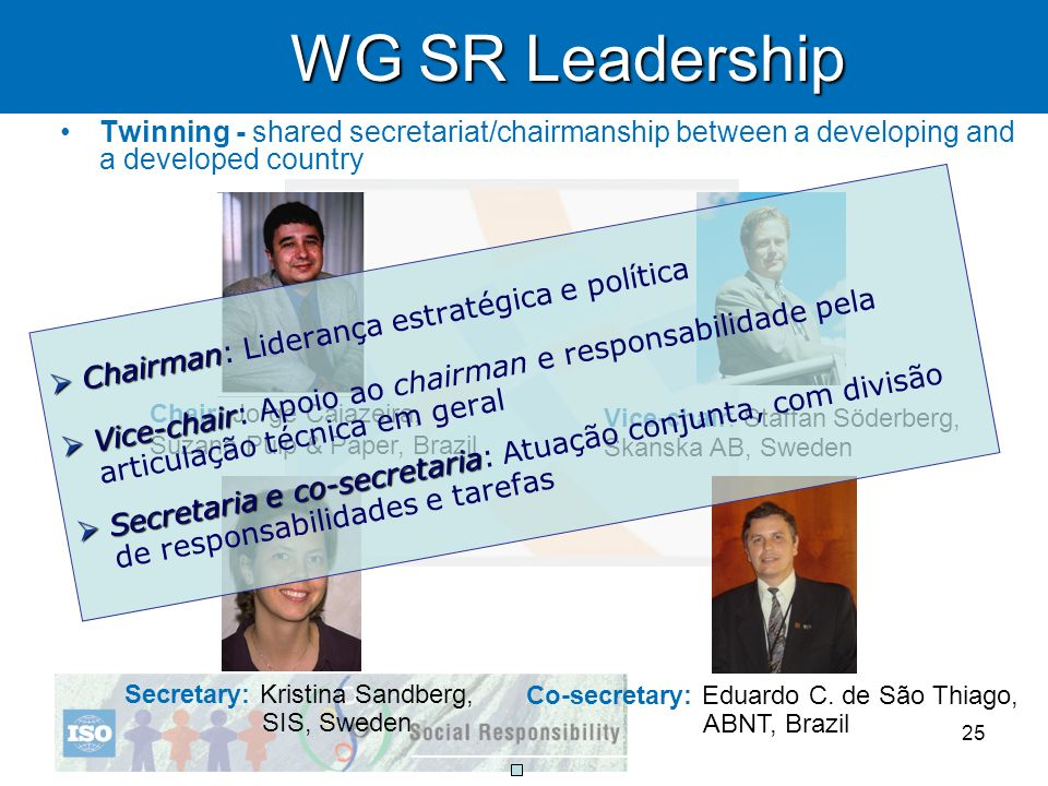 WG SR LeadershipTwinning - shared secretariat/chairmanship between a developing and a developed country.