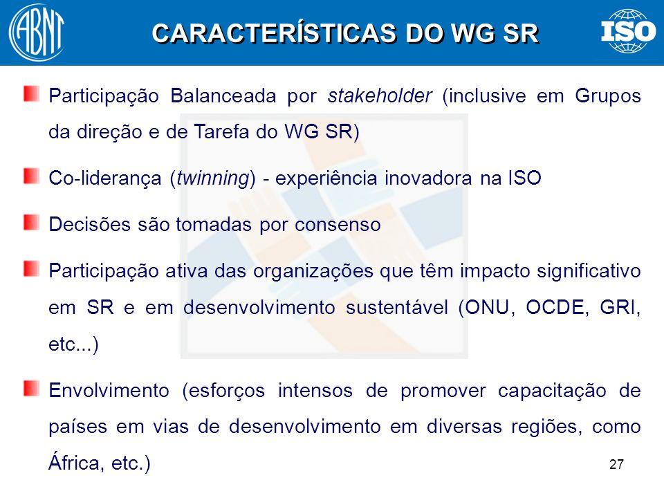 CARACTERÍSTICAS DO WG SR
