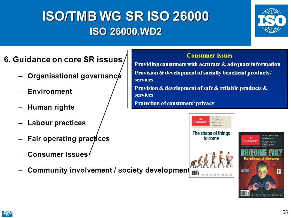 ISO/TMB WG SR ISO 26000 ISO 26000.WD2 6. Guidance on core SR issues