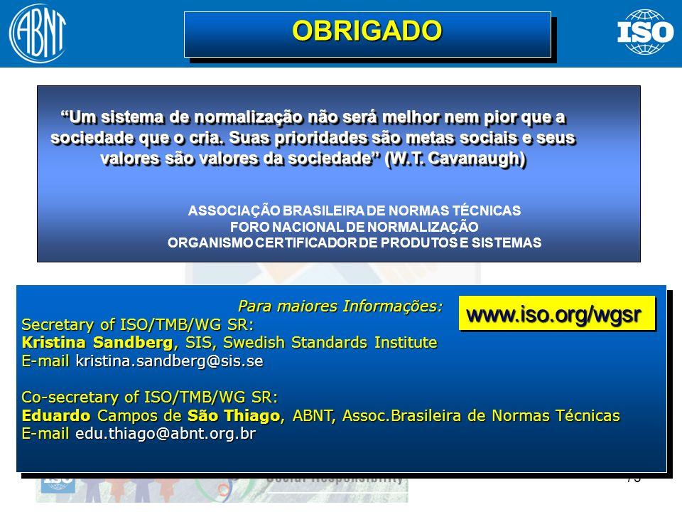 OBRIGADO www.iso.org/wgsr