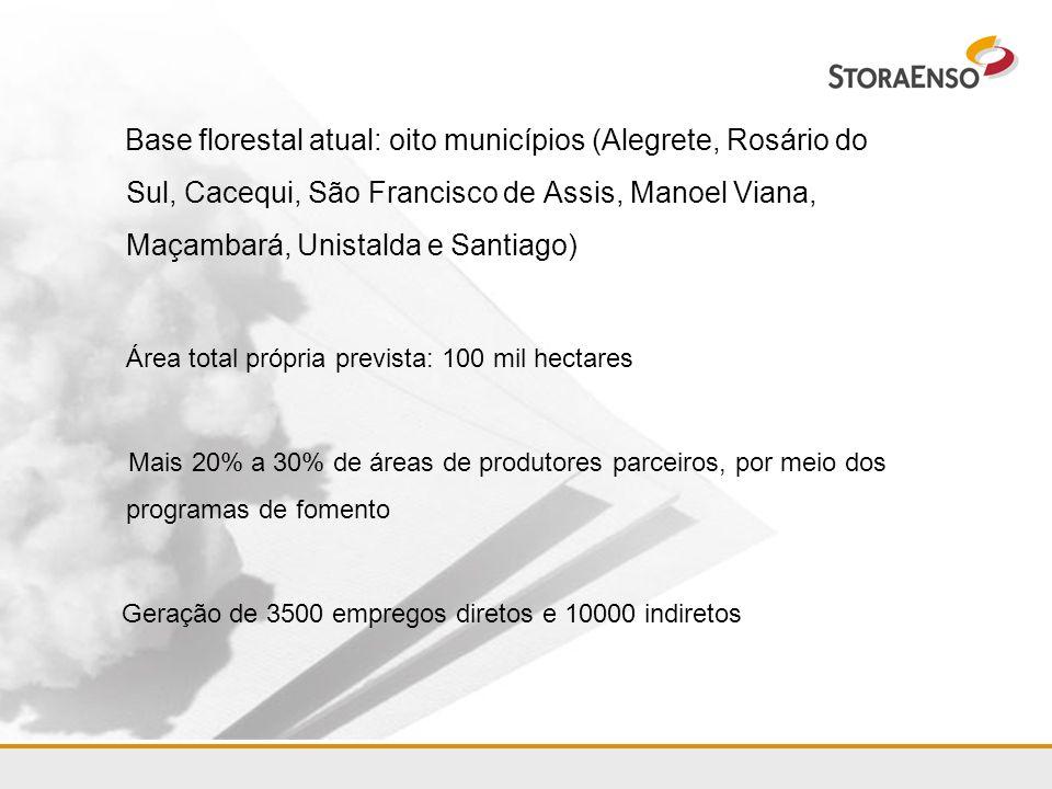 Base florestal atual: oito municípios (Alegrete, Rosário do Sul, Cacequi, São Francisco de Assis, Manoel Viana, Maçambará, Unistalda e Santiago)