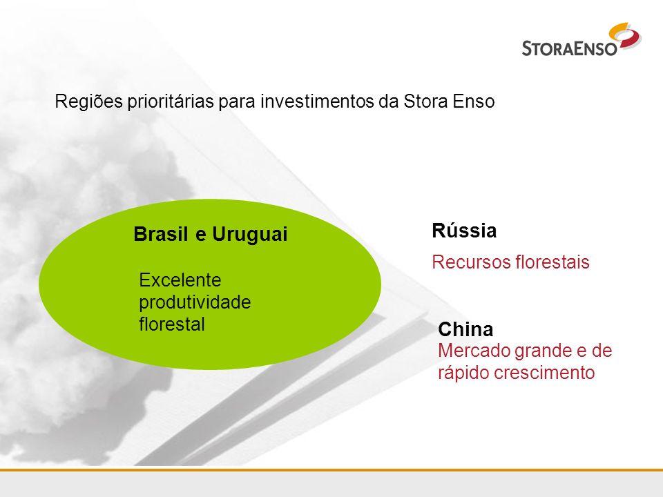 Regiões prioritárias para investimentos da Stora Enso