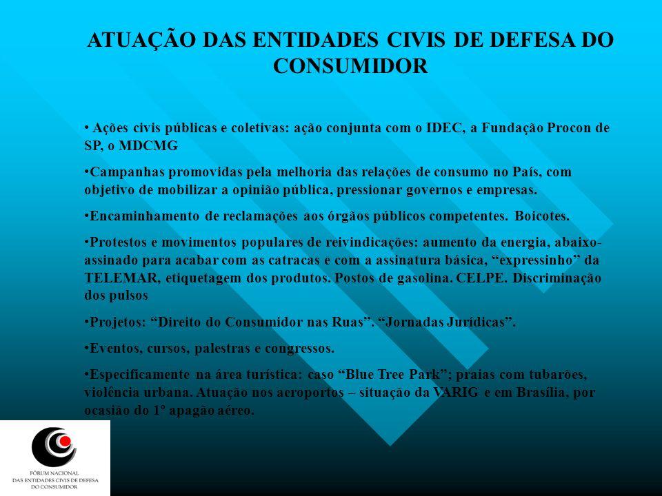 ATUAÇÃO DAS ENTIDADES CIVIS DE DEFESA DO CONSUMIDOR