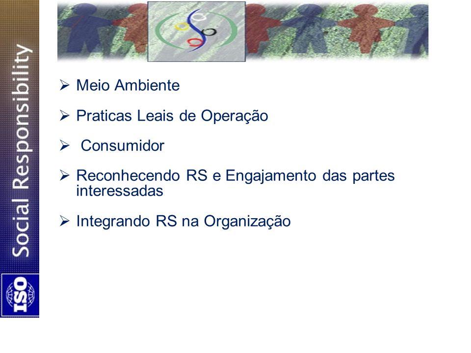 Meio Ambiente Praticas Leais de Operação. Consumidor. Reconhecendo RS e Engajamento das partes interessadas.