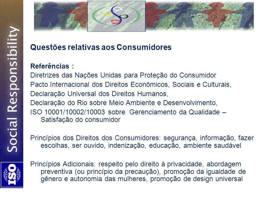 Questões relativas aos Consumidores