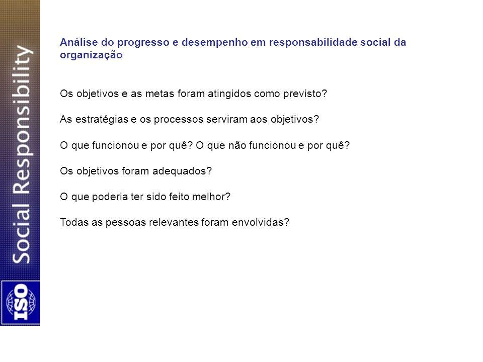 Análise do progresso e desempenho em responsabilidade social da organização