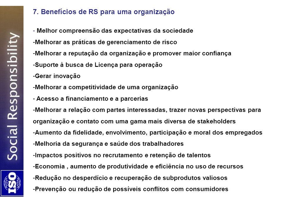 7. Benefícios de RS para uma organização