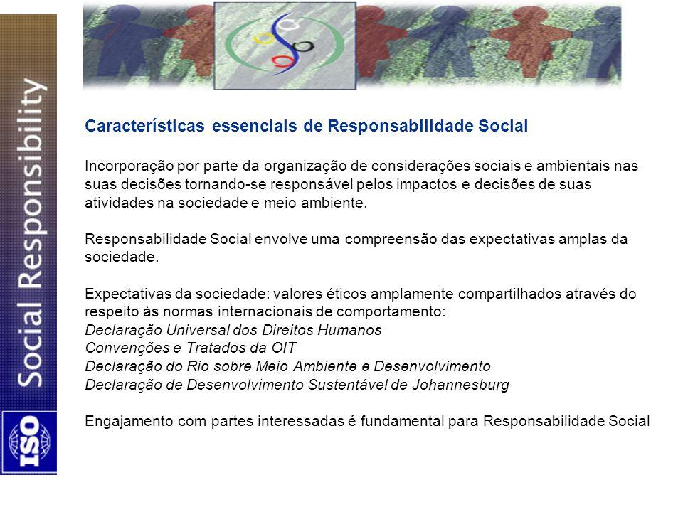 Características essenciais de Responsabilidade Social Incorporação por parte da organização de considerações sociais e ambientais nas suas decisões tornando-se responsável pelos impactos e decisões de suas atividades na sociedade e meio ambiente.