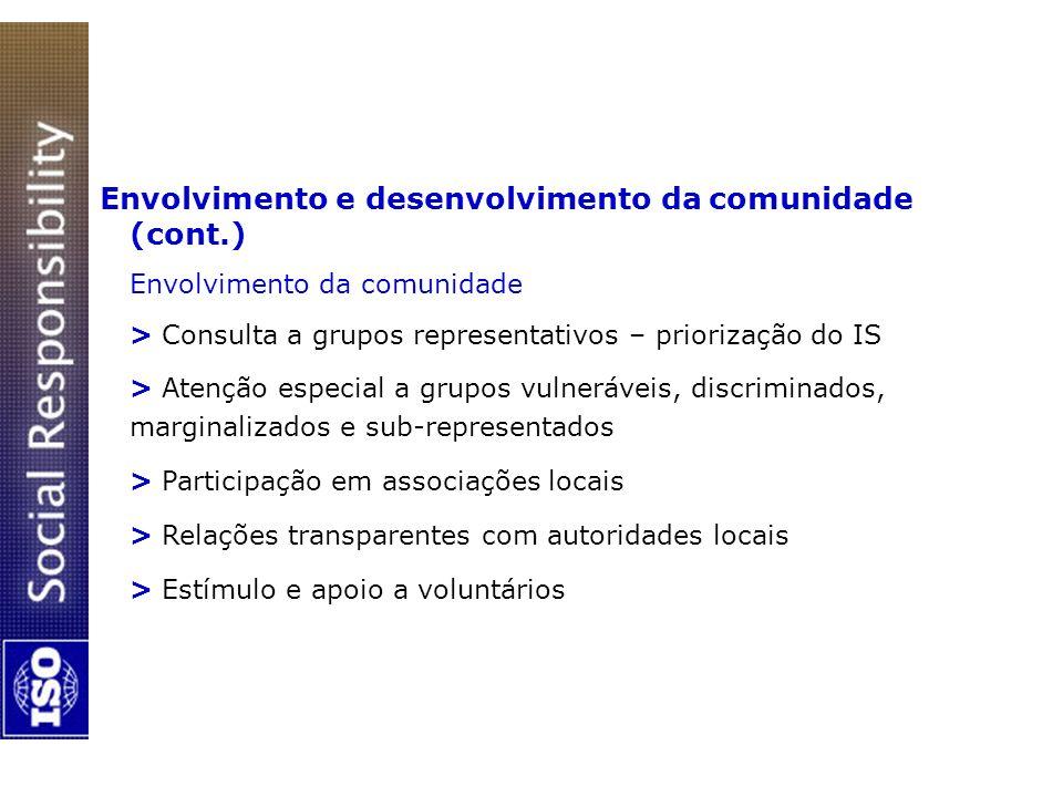 Envolvimento e desenvolvimento da comunidade (cont.)