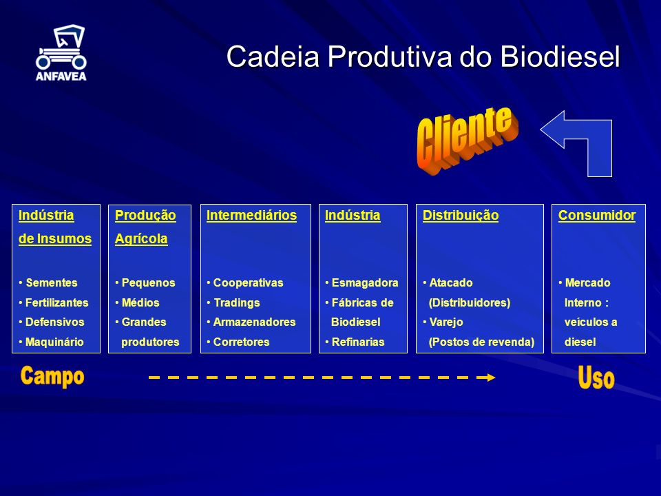 Cliente Cadeia Produtiva do Biodiesel Campo Uso Indústria de Insumos
