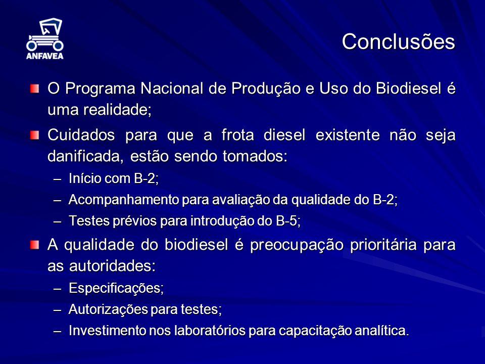 Conclusões O Programa Nacional de Produção e Uso do Biodiesel é uma realidade;
