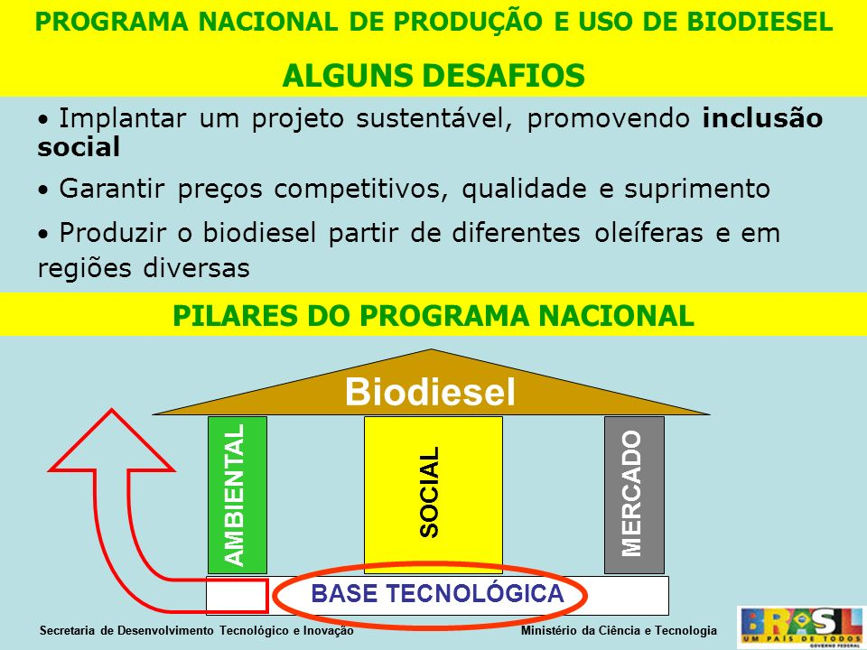 Biodiesel ALGUNS DESAFIOS PILARES DO PROGRAMA NACIONAL