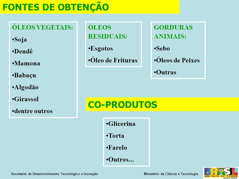 FONTES DE OBTENÇÃO CO-PRODUTOS ÓLEOS VEGETAIS: Soja Dendê Mamona