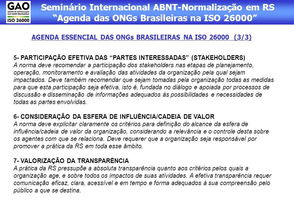 AGENDA ESSENCIAL DAS ONGs BRASILEIRAS NA ISO 26000 (3/3)