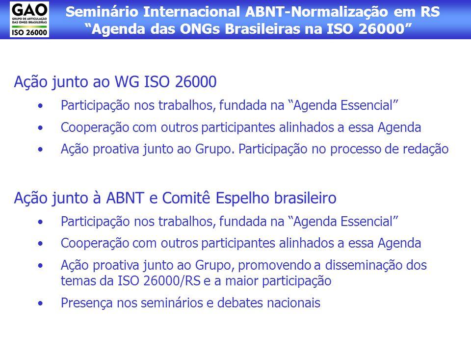 Ação junto à ABNT e Comitê Espelho brasileiro