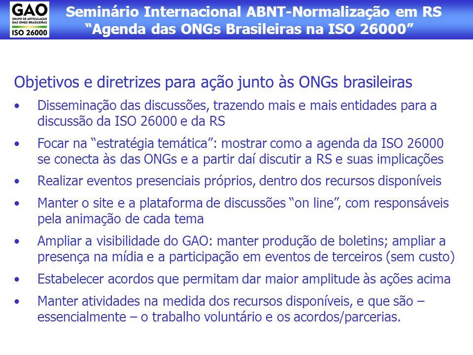 Objetivos e diretrizes para ação junto às ONGs brasileiras