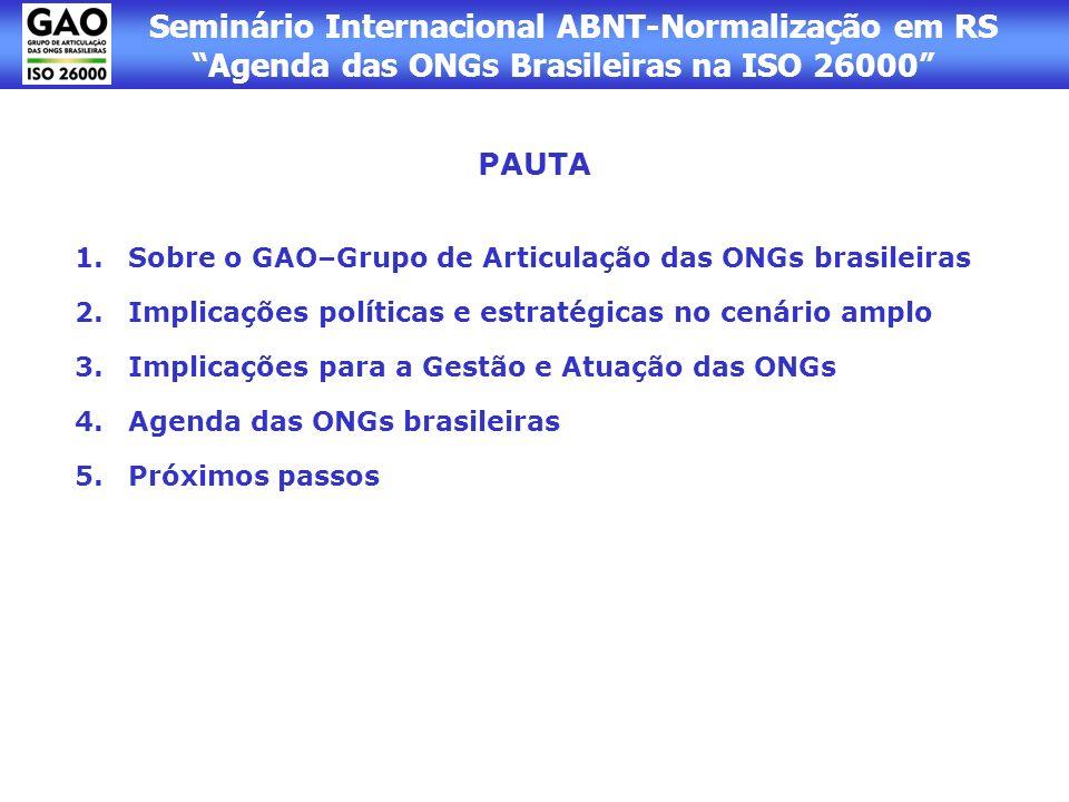 PAUTA Sobre o GAO–Grupo de Articulação das ONGs brasileiras