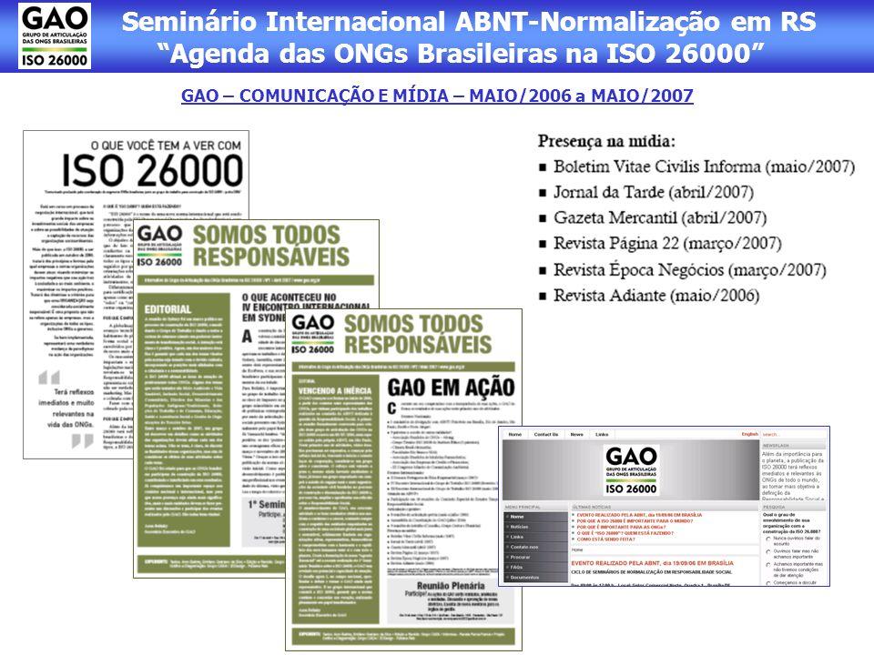 GAO – COMUNICAÇÃO E MÍDIA – MAIO/2006 a MAIO/2007