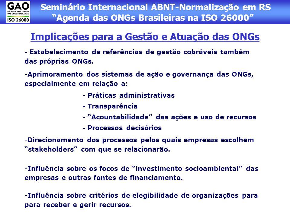 Implicações para a Gestão e Atuação das ONGs