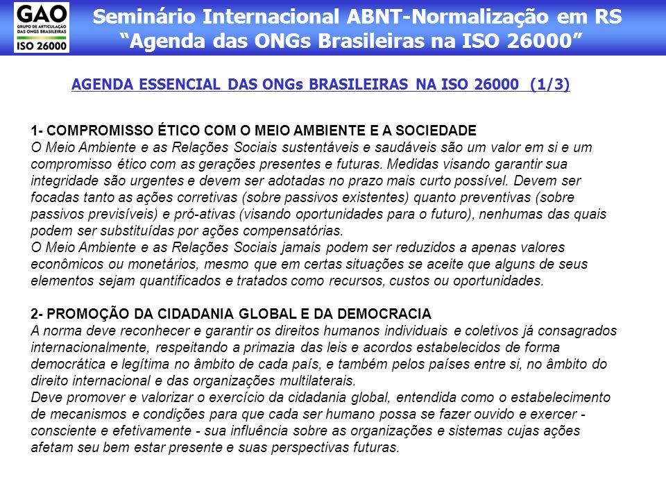 AGENDA ESSENCIAL DAS ONGs BRASILEIRAS NA ISO 26000 (1/3)