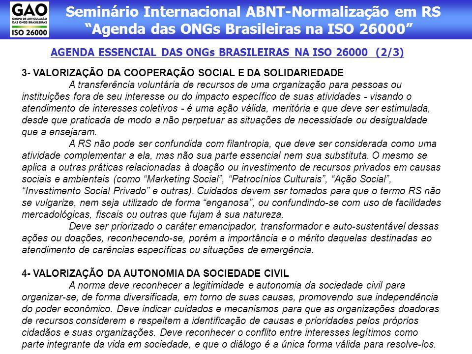AGENDA ESSENCIAL DAS ONGs BRASILEIRAS NA ISO 26000 (2/3)