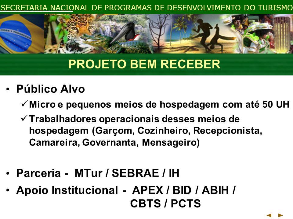 PROJETO BEM RECEBER Público Alvo Parceria - MTur / SEBRAE / IH