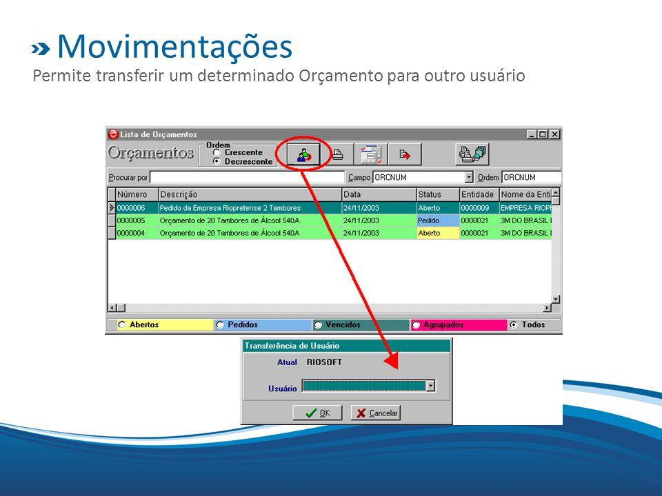 Movimentações Permite transferir um determinado Orçamento para outro usuário