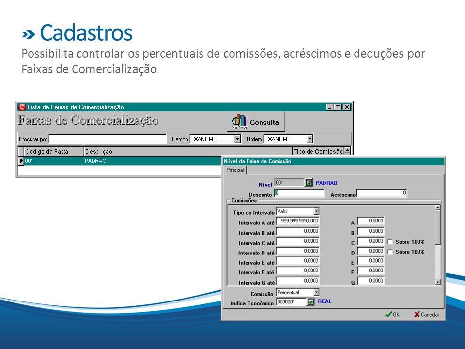 Cadastros Possibilita controlar os percentuais de comissões, acréscimos e deduções por Faixas de Comercialização.