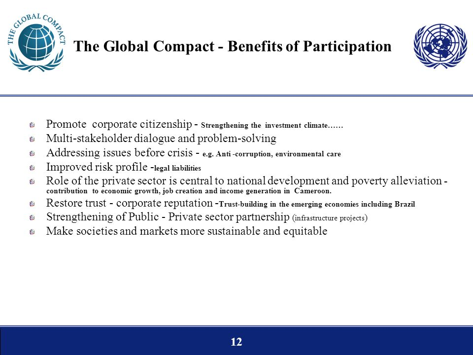 The Global Compact - Benefits of Participation