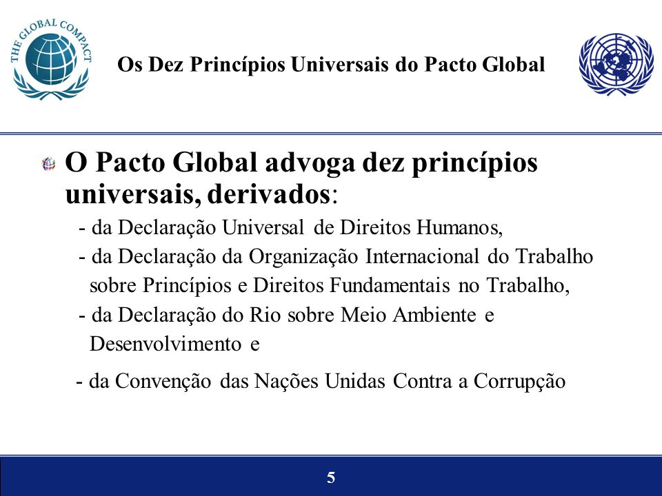 Os Dez Princípios Universais do Pacto Global