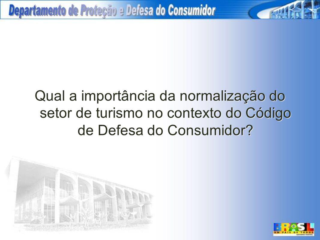 Qual a importância da normalização do setor de turismo no contexto do Código de Defesa do Consumidor