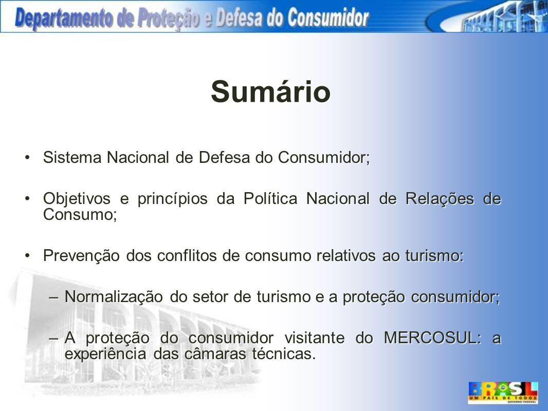 Sumário Sistema Nacional de Defesa do Consumidor;