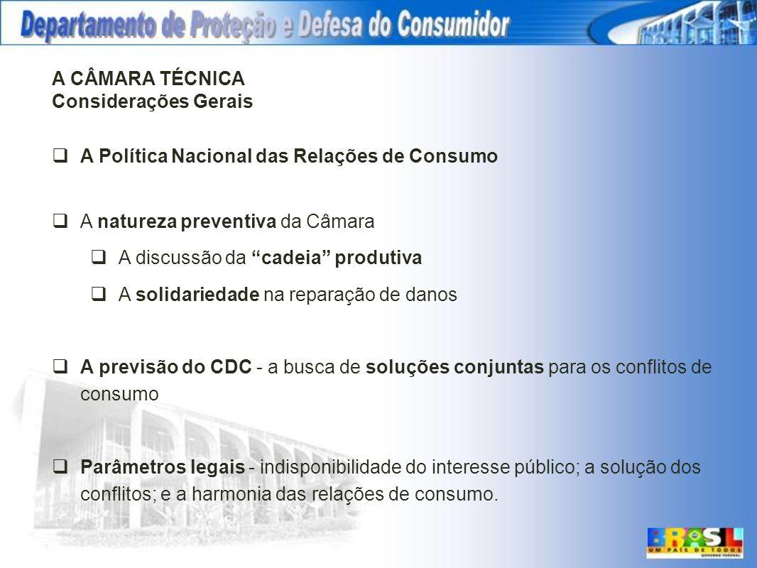 A CÂMARA TÉCNICA Considerações Gerais. A Política Nacional das Relações de Consumo. A natureza preventiva da Câmara.