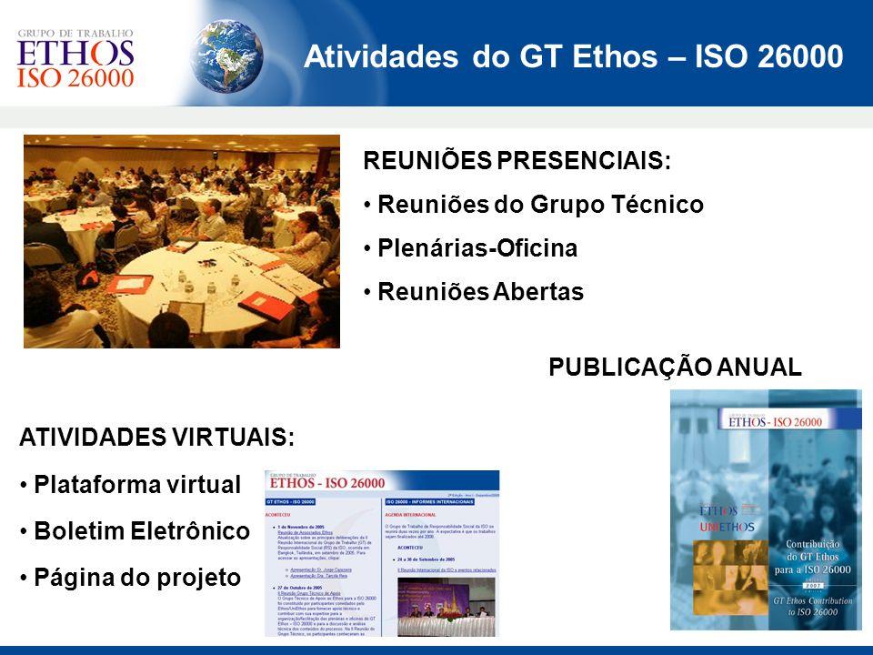 Atividades do GT Ethos – ISO 26000